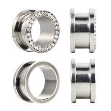 BodyJ4You Plugs Surgical Steel Screw Fit Rim Crystal Tunnel 10 Gauge - 16mm - 2 Pairs