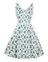 Wellwits Women's Cactus Print Tank V Neck Spring Summer Vintage 60s 70s Dress