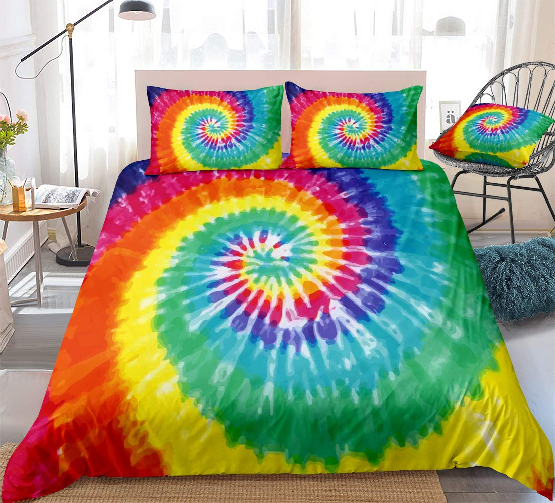 Colorful Tie Dyed Duvet Cover Queen Tie Dye Bedding Set Orange Yellow Psychedelic Swirl Tie Dyed Pattern Design Boho Kids Teens Bedding Sets Queen 1 Duvet Cover 2 Pillowcases Rainbow Queen