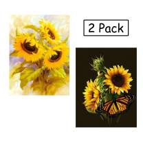 WIZLAND 2 Pack 5D DIY Diamond Painting Full Drill Round Resin Beads Pictures Paintings Pictures Arts Craft for Home Wall Decor(Sunflower)