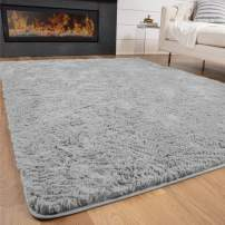 Gorilla Grip Original Premium Fluffy Area Rug, 2x4 Feet, Super Soft High Pile Shag Carpet, Washer and Dryer Safe, Rugs for Floor, Luxury Home Carpets for Nursery, Bed and Living Room, Light Gray