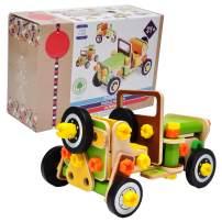 GYBBER&MUMU 3-D Wooden Car Puzzles Adjustable Deformed Car DIY Assembled Car Model Educational Gift for Kids Ages 3 Years +