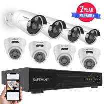 [2020 New] Home Security Camera System,SAFEVANT 8 Channel HD DVR Systems with 8 Surveillance Cameras Outdoor Indoor Night Vision Motion Detection