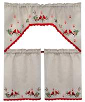 Grelucgo Embroidered Christmas Holiday Decorative Cardinal Kitchen Curtain Swag & Tiers Set 3 PCS