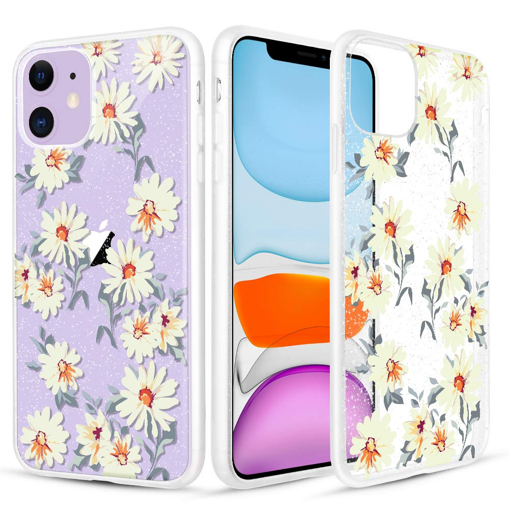 Caka Glitter Case for iPhone 11 Flower Case Clear Crystal Glitter Daisy White Floral Pattern Flexible Slim Bling Shining Soft Women Girls Anti Scratch Flower Phone Case for iPhone 11 (Daisy)