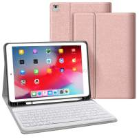 JUQITECH Keyboard Case 9.7 for iPad Pro 9.7 iPad 2018 6th Gen 2017 5th Gen iPad Air 2/1, Auto Sleep/Wake Detachable Removable Bluetooth Tablet Keyboard Smart Cover Built-in Pencil Holder, Rose Gold