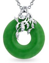 Round Open Circle Disc Dyed Green Jade Leaf Pendant Necklace For Women For Teen 925 Sterling Silver 18 Inch Chain