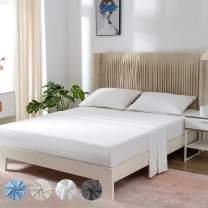 """PY HOME & SPORTS King Bed Sheets Set White Ultra Soft 4 Pieces Bedding Microfiber Luxury Sheet with 16"""" Deep Pockets"""