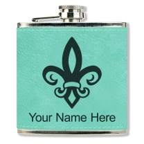 Faux Leather Flask, Fleur de Lis, Personalized Engraving Included (Teal)