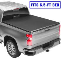 """AUTOSTARLAND 6'5"""" Soft Tri-Fold Truck Bed Tonneau Cover Fits for Silverado 1500/2500 LT Crew Cab Double Cab"""