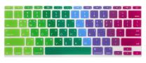"""HRH Korean Silicone Keyboard Cover Skin Skin Protector for MacBook Air 11.6 Inch for MacBook 11"""" A1370 A1465 USA Layout Keyboard Protector Keyboard Protective Film-Dazzle Rainbow"""