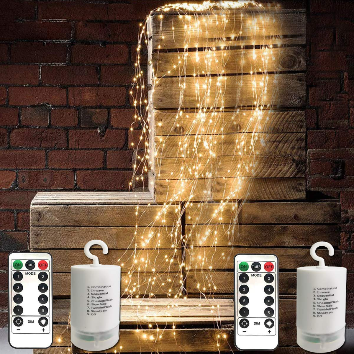 Liyuanq Updated 2 Pack 180 Led Twinkle String Lights Waterfall Fairy Lights Battery Operated Copper Wire String Lights With 9 Strands Waterproof String For Indoor Outdoor Garden Christmas Party Decor