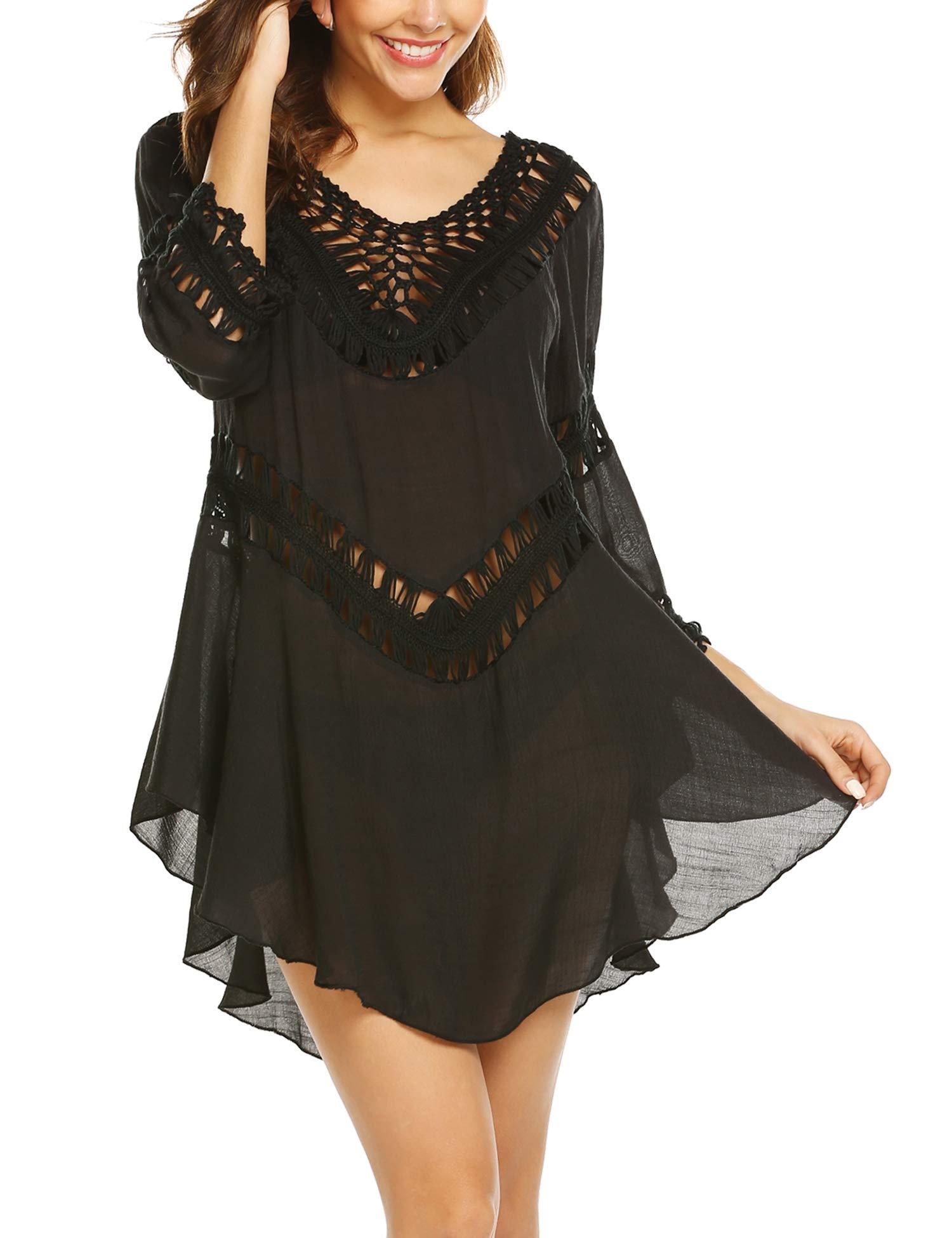 ELOVER Women Bikini Cover Ups Chiffon Coverups Crochet Smock Hollow Out Beach Dress