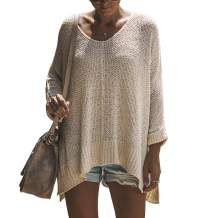 Exlura Women's Casual V Neck Loose Oversized Pullover Sweater High Low Knitted Jumper