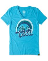 Life is Good Women's Cool Lig Rainbow Vee Tee
