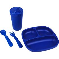 Re-Play Made in The USA Toddler Diner Set | Divided Plate, No Spill Sippy Cup, Utensil Set | Eco Friendly Heavyweight Recycled Milk Jugs - Virtually Indestructible | Navy Blue