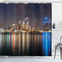 "Ambesonne Detroit Shower Curtain, Modern Metropolis Cityscape at Night Time Detroit River with Colorful Reflection, Cloth Fabric Bathroom Decor Set with Hooks, 70"" Long, Night Blue"