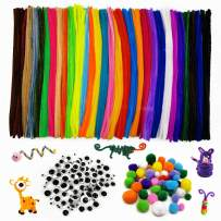 450 Pcs Pipe Cleaners Set 30 Colors Chenille Stems 6 mm x 12 inch,Including 50 Pcs 4 Size Pom Poms,100 Pcs 4 Size Wiggle Eyes for DIY Art Craft