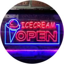 """ADVPRO Open Ice Cream Shop Dual Color LED Neon Sign Blue & Red 12"""" x 8.5"""" st6s32-i0015-br"""
