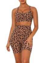 Chase Secret Womens High Waist Leopard Workout Athleticwear 4 Way Stretch Gym Bra and Shorts 2 Piece Set
