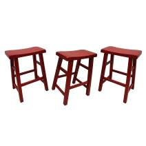 """eHemco 29"""" Heavy Duty Saddle Seat Bar Stool in Red, Set of 3"""