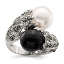 925 Sterling Silver Marcasite Black White Plastic Simulated Pearl Band Ring Fine Jewelry For Women Gift Set