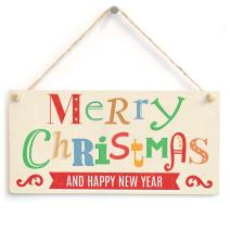 """Meijiafei Merry Christmas and Happy New Year - Xmas Sign 10""""x5"""""""
