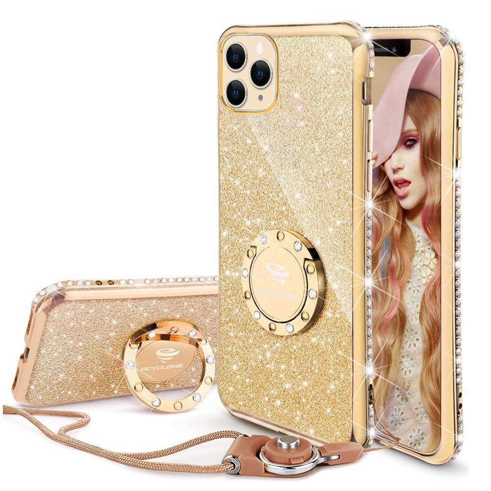 OCYCLONE Cute iPhone 11 Pro Case, Glitter Luxury Bling Diamond Rhinestone Bumper with Ring Grip Kickstand Protective Thin Girly Pink iPhone 11 Pro Case for Women Girl [5.8 inch] 2019 - Gold