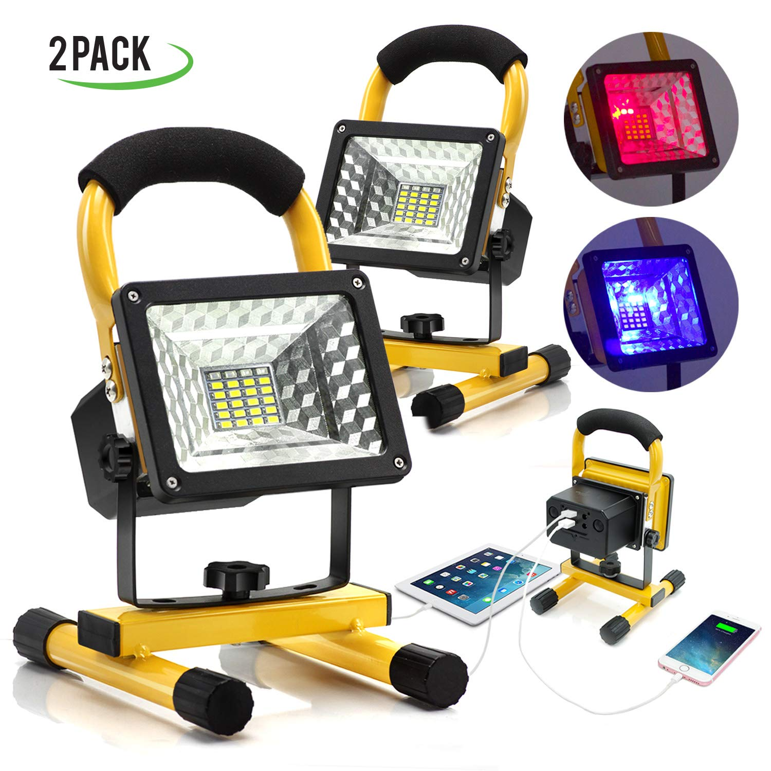 eTopLighting [2-Pack] 15W Portable LED Flood Spot Light with Rechargeable Battery and Built-in Power Bank for Outdoor Activities, Work Light, Camping Lights, Emergency Light, Outdoor Lantern, APL1562