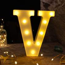 Brightown Decorative LED Marquee Letter Lights 26 Alphabet Light Up Letters Sign for Wedding Birthday Party Night Light Home Bar Decoration Battery Operated (V)