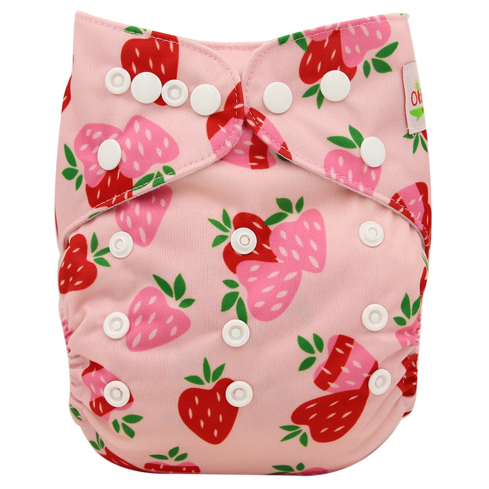 Ohbabyka Reusable Washable Baby Boys/Girls Pocket Cloth Diapers with 1pc Insert (Strawberry+1 Insert)