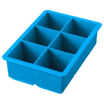 """Tovolo Inch Large King Craft Mold Freezer Tray of 2"""" Cubes for Whiskey, Bourbon, Spirits & Liquor Drinks, BPA-Free Silicone, Set of 1, Ice Blue"""