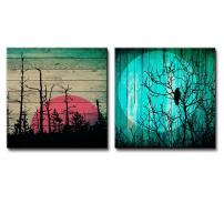 wall26 - Illustration of Sunset Behind Silhouette of Trees Over Wooden Panels Along with Silhouette of Tree Under The Moonlight - Canvas Art Home Decor - 12x12 inches