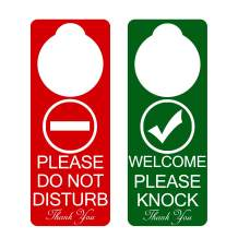 Do Not Disturb Door Hanger Sign 2Pack Double Sided Please Do Not Disturb on Front and Welcome Please Knock on Back Side, Ideal for Office Home Clinic Dorm Online Class and Meeting (9 X 3 inches)