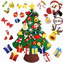 SHINE-CO LIGHTING Felt Christmas Tree 3.2ft DIY Hanging Xmas Tree with 30pcs Detachable Ornaments Door Wall Hanging Decoration Best Gift for Kids Handmade Intellectual Development
