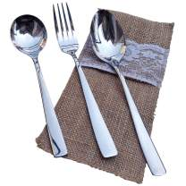 Arlai Flatware Set, Stainless Steel Utensils Service for 1, Include Fork/Spiked spoon/Round spoon/burlap bags - Family dining forks and knives set