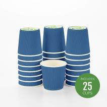 "4 oz Midnight Blue Paper Coffee Cup - Ripple Wall - 2 1/2"" x 2 1/2"" x 2 1/4"" - 25 count box - Restaurantware"