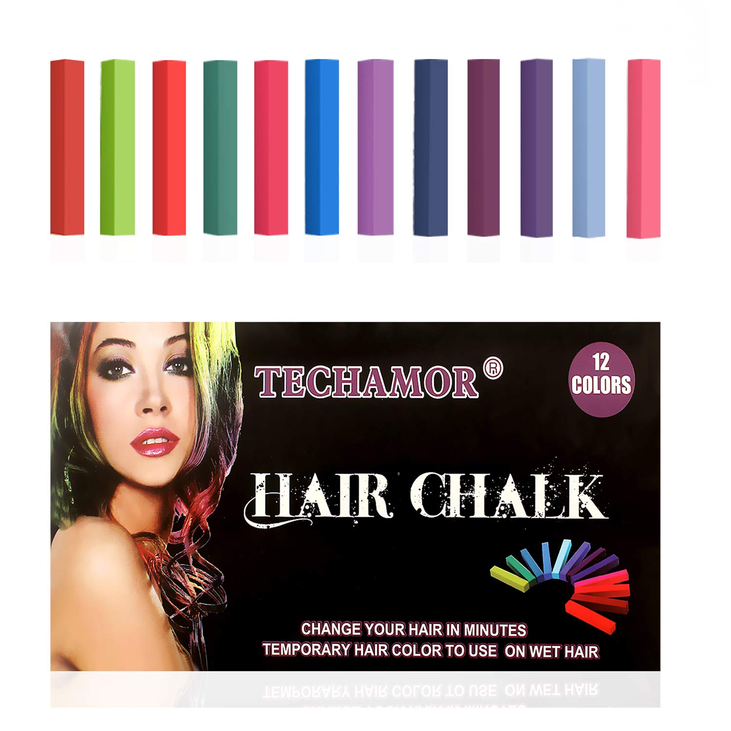 Hair Chalk,Hair Chalk Pen,Temporary Hair Color Chalk Set,No-Toxic Washable Hair Dye for Kids Hair Dyeing Party,Birthday Gifts For Girls,women, Men,12 Bright Colors