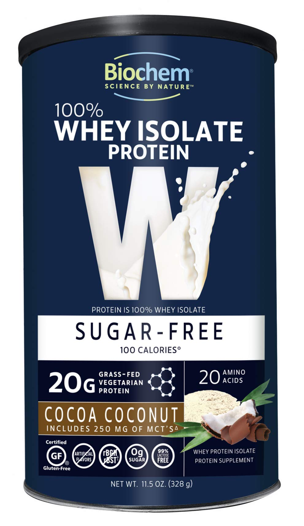 Biochem 100% Whey Isolate Protein - 11.5 oz - Cocoa Coconut Flavor - 20g Vegetarian Protein - Keto-Friendly - Amino Acids - May Help Support Immune System - Easy to Mix - Preworkout Shake