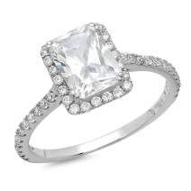 1.95 CT Emerald Cut CZ Halo Solitaire Designer Classic Ring Band Solid 14k White Gold