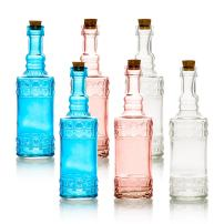 Quasimoon PaperLanternStore.com 6pc Calista Vintage Glass Bottles Decorative Colorful Wedding Flower Vases