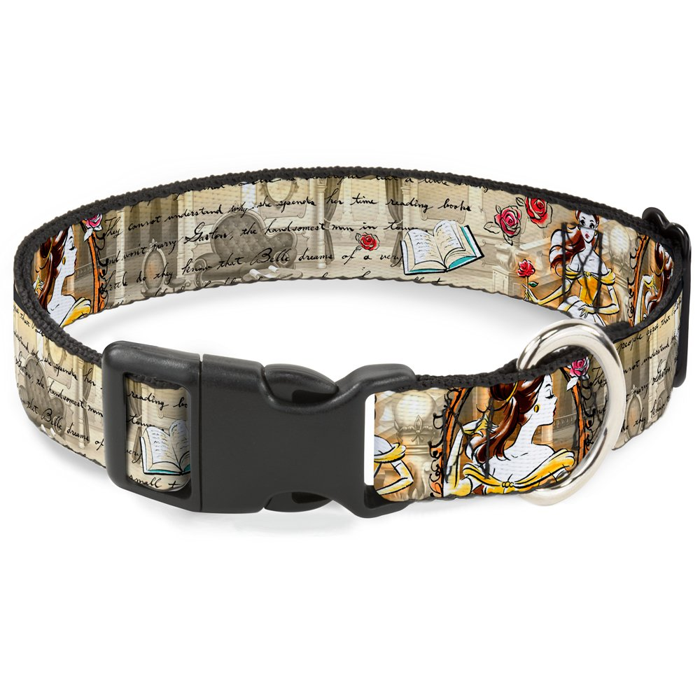 Buckle-Down Dog Collar Plastic Clip Belle Sketch Poses Story Script Available In Adjustable Sizes For Small Medium Large Dogs