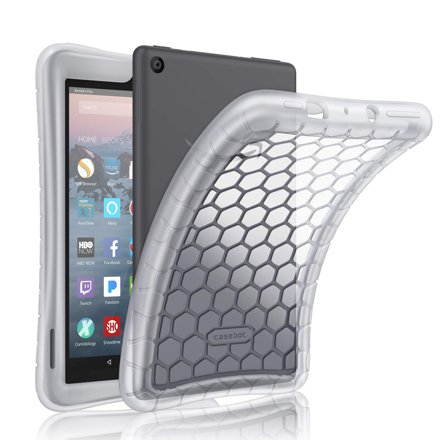 Fintie Silicone Case for All-New Amazon Fire 7 Tablet (9th Generation, 2019 Release) - [Honey Comb Series] [Kids Friendly] Light Weight [Anti Slip] Shock Proof Protective Cover, Clear White