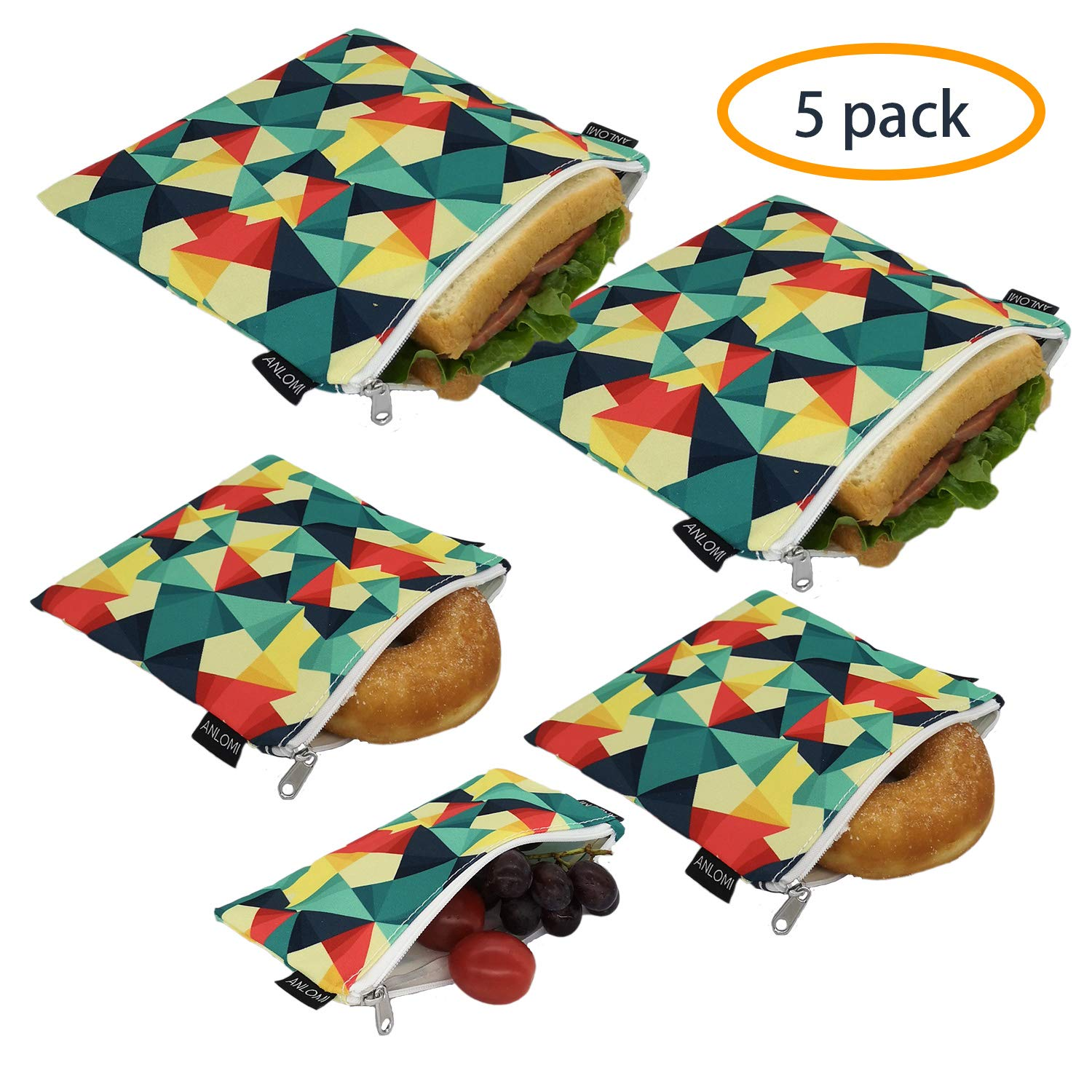 Reusable Sandwich Bags Snack Bags - Set of 5 Pack, Dishwasher Safe Lunch Bags with Zipper, Eco Friendly Food Wraps, BPA-Free. (Colorful)