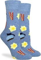 Good Luck Sock Women's Bacon & Eggs Crew Socks - Blue, Adult Shoe Size 5-9