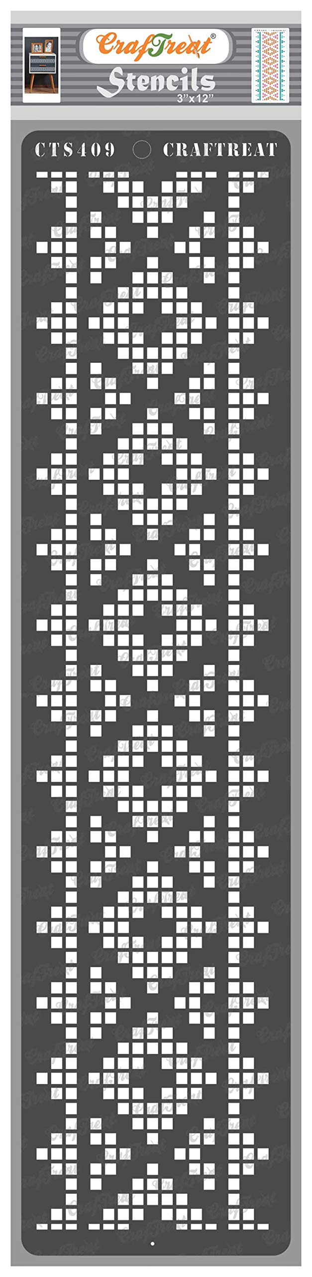 CrafTreat Dot Border Stencils for Painting on Wood, Canvas, Paper, Fabric, Floor, Wall and Tile - Border17-3x12 Inches - Reusable DIY Art and Craft Stencils for Borders - Border Quilt Stencil