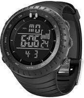 Mens Watches Digital Sports Waterproof Tactical Watch with LED Backlight Chronograph Military Watch for Men Black