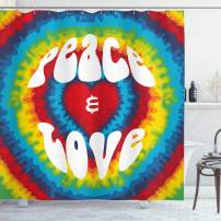 """Ambesonne 70s Party Shower Curtain, Peace and Love Groovy Sixties Tie Dye Effect Heart Shaped Abstract Rainbow Print, Cloth Fabric Bathroom Decor Set with Hooks, 84"""" Long Extra, White and Rainbow"""