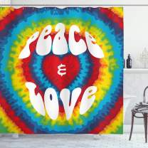 """Ambesonne 70s Party Shower Curtain, Peace and Love Groovy Sixties Tie Dye Effect Heart Shaped Abstract Rainbow Print, Cloth Fabric Bathroom Decor Set with Hooks, 70"""" Long, White and Rainbow"""