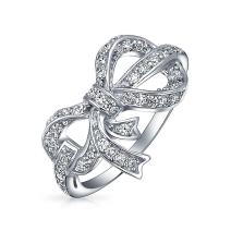 Holiday Party Vintage Style Cubic Zirconia Pave CZ Ribbon Bow Statement Ring For Women For Teen 925 Sterling Silver